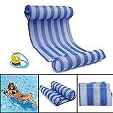 OUTERDO Wasserhängematte, Aufblasbare Hängematte, Wasserhängematte für Wasserspaß, Ultra Bequeme Luftmatratze Schwimmende Wasser Bett Matte Aufblasbare Kopf für Erwachsene und Kinder 120kg Blau