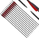 Narchery Pfeile, 31 Zoll Bogenpfeile Carbon Pfeile für Bogenschießen mit 5' Rot und Schwarz Naturfeder, Jagdpfeile für Bogen, Recurvebogen, Langbogen und Traditionellen Bogen (12er Set)