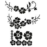 ACBungji Hibiskus Autoaufkleber Blumen blumenaufkleber autotattoos selbstklebend Aufkleber Fenster Schwarz Weiß wasserfest (Schwarz Blume)
