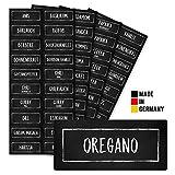 NEU Aufkleber Gewürze Etiketten (80 Stück) - Schwarz - Gewürzetiketten Selbstklebend - Rechteckig - Wasserfest - Gewürz Sticker - klein 50x20mm