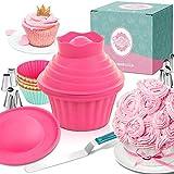 MoNiRo Große Cupcake Backform - Extra XXL Muffinform mit Spritztüllen und Spritzbeutel zum Backen - Giant Cupcakes - 30 Teiliges Back-Set Zubehör Silikon Form für Torten, Muffins und Deko