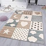 VIMODA Kinderteppich Teppich Kinderzimmer Babyteppich mit Herz Stern Mond, Maße:120x170 cm