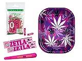 yaoviz® Set - 50 Purize Aktivkohlefilter Xtra Slim 5,9mm + Rolling Tray Mini Pink Leafs + 2X 32 ZETLA Kingsize Slim Papers pink + Jointhülle pink Löwenkopf