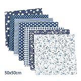 SHINEFUTURE Baumwollstoff meterware Stoffpaket 7 Stück je 50 x 50 cm - Stoffe zum Nähen Patchwork Stoff Paket Stoffreste nähstoffe Baumwolle Stueck Muster DIY Baumwolltuch (Marineblau)
