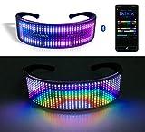 Lixada Einzigartige Bluetooth-LED-Gläser, LED Brille Bluetooth APP Steuerung für Party   DIY Flashing Emotions Sonnenbrille für Männer Frauen Kinder   USB wiederaufladbar