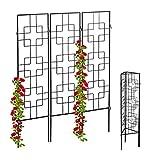 Relaxdays Rankgitter Metall, 3er Set, zum Stecken, Rankhilfe für Kletterpflanzen, 122 x 30,5 cm, Spalier Garten, schwarz