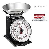 Rosenstein & Söhne Haushaltswaage: Analoge Metall Retro-Küchenwaage bis 5 kg mit Tara-Funktion (Mechanische Küchenwaage)