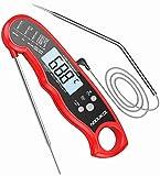 NIXIUKOL Digital Fleischthermometer Grillthermometer Bratenthermometer mit 2 Edelstahlsonden, Sofortiges Auslesen, LCD Display, Magnet, Küchen Thermometer für Grill BBQ Braten Ofen (Rot+Schwarz)