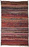 Guru-Shop Leichter Flickenteppich, Flickendecke 100x160 cm - Braun-bunt, Baumwolle, Teppiche, Bodenmatten