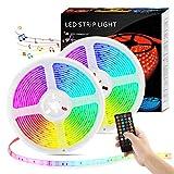 RGB Led Strip 10M, EWEIMA LED Streifen 300LEDs Sync mit Musik, Selbstklebende 5050 SMD LED Leiste Lichtband mit Fernbedienung für Schlafzimmer, TV, Party und Feriendekoration, Dimmbare LED Band