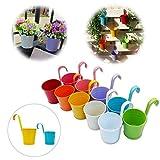 GIOVARA Groß Metall-Blumentopf Vase Eimer zum Aufhängen, Garten-Pflanzgefäß mit Drainageloch, Balkon-Heimdekoration, Abnehmbarer Haken (10 Stück im Sortiment in 10 Farben)