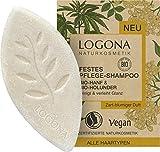 Festes Bio Shampoo von LOGONA Naturkosmetik Bio-Hanf & Bio-Holunder, Glanz Shampoo Bar für natürlich gesundes Haar, Wie Haarseife, Vegan, 60 ml
