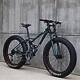 Wind Greeting 26 Zoll Mountainbike,24 Gang-Schaltung Erwachsene Fette Reifen Fahrrad,Rahmen aus Kohlenstoffstahl,Vollfederung Scheibenbremsen Hardtail Bike (Cyan)