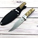 AUBEY Jagdmesser mit Scheide Feststehende Klinge Überlebensmesser Gürtelmesser Outdoor Camping Survival Messer Holzgriff 5CR15MOV Klingenstahl