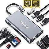 VaKo 12 Ports Docking Station USB C Hub Triple-Display USB C Adapter mit DUAL 4K-HDMI,VGA,Type C PD, 4 USB Ports,Gigablit Ethernet RJ45, SD/TF Kartenleser für MacBook Pro/Air und Mehr Typ C Geräte