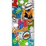 murando - Türtapete selbstklebend 90x210 cm Vliesleinwand Fototapete Tapete Türpanel Türposter Türaufkleber Türsticker Tür Dekoration Foto Bild Design Comic grün rot bunt i-B-0027-a-c
