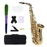 ammoon bE Alt Saxophon Blech Lackiertes Goldenes E Flache Sax 802 Taste Typ Holzblasinstrument mit Reinigungsbürste Stoffhandschuhe Korkfett Bügel Gepolsterter Kasten
