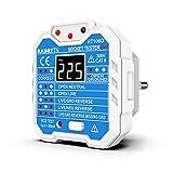 KAIWEETS® Steckdosentester, Diagnose-Stecker mit Kontrollleuchten-Anzeige, misst Sockel-Spannung, CAT II 300 V (Blau)