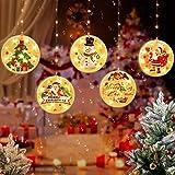 sfesnid 5 in 1 3D Lichtervorhang LED Lichterkette 1.5 Meter 5 Lichter LED USB Fenstervorhang Lichter Dekoration für Weihnachten Deko Party Festen