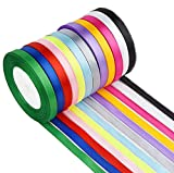 QYY Satinband Seidenbänder Seidenband Schleifenband Hochzeit Dekoband Satin Geschenkband Stoffband zum Basteln und Geschenk Verpacken, 300 Yards 12 Farben