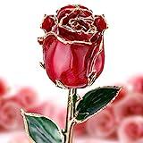 YEPLINS Echte Rose 24 K Gold getauchte Ewige Rose, vergoldete Rose Blume Forever Rosen, Geschenke für ihren Jahrestag, Hochzeit, Antrag, Verlobung, Geburtstag, Valentinstag, Muttertag (rot)