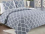 Zweiseitige Tagesdecke Bettüberwurf 3 Tlg. 220x240 cm+ 2 Kissenbezüge Tavira Grau Ecru Weiß- Meridian