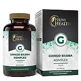 Nuvi Health® Ginkgo Biloba Komplex - 180 Kapseln mit 5000 mg - Premium: Mit Cholin + B-Vitamine - 50:1 Spezial Extrakt - Laborgeprüft - Vegan - Hochdosiert