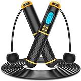 Springseil mit digital Zähler, Speed Rope, Stahl Seil mit PVC Ummantelung, Profi Kugellager & Anti-Rutsch Griffe, Länge Einstellbar, Zwei Springseile Modi, Seilspringen für Fitness&Training&Crossfit
