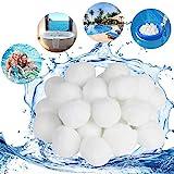 KATELUO Filter Balls,Pool Filter Balls,300G/500G Filter Balls für sandfilteranlagen,kartuschenfilter,hohe Wasserdurchlässigkeit, Leichter, effizienter,Filterung (500g, Weiß)