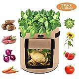 FORMIZON 2er Pack Pflanzen Tasche, Kartoffel Pflanzsack, Dauerhaft AtmungsaktivBeutel mit Fenster, Klettverschluss, Tragegriffen für Kartoffel, Karotte, Tomate (7 Gallonen Khaki)
