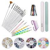 Czemo Nail Art Set 15 Stück Nagel Bürste und, 10 Farben rollt Streifen Band- Linie, Dotting Marmorisierende Feder für Nageldisigns Kit