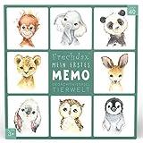 Frechdax® Memo Spiel Tiere Gedächtnisspiel Spielkarten Kinder Memospiel (Grün - Aquarell Tierchen)