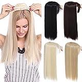 TESS Clip in Extension wie Echthaar Pony Haarteil Topper 3 Clips Haarverlängerung Glatt Toupet für Haarausfall oder Graue Haare 11'(28cm)-95g Mittelblond