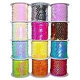 BELLE VOUS 12 Stück Glänzendes Paillettenband (4m) Glitter Paillettenband Ordnungsrolle - Pailletten für DIY Kunsthandwerk, Scrapbooking, Home Dekore, Kleiderherstellung