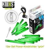 KNIXS 12er Set Premium Power-Knicklichter in grün leuchtend inkl. Spezialhaken und Befestigungsband für Party, Festival, Outdoor oder als Dekoration