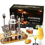 AYAOQIANG Cocktail Shaker Set Edelstahl 12-teiliges Cocktail Bar Set Bar Zubehör Cocktail Set 750 ML Cocktail Shaker mit Holzständer
