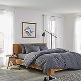 sleepwise™ Biber Bettwäsche Baumwolle | weich warm kuschelig | 155x220 cm + 80x80 cm Kissenbezug | Dunkel Grau