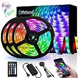 Elfeland Rgb LED Strip, 15M LED Streifen, LED Stripes steuerbar via App bluetooth, 5050SMD 450 Leds Bänder Sync mit Musik, TV Hintergrundbeleuchtung Band Lichtband mit Fernbedienung Full Kit 3x5M