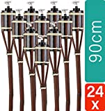 STAR - LINE 24 Gartenfackeln aus Bambus mit Docht Braun - Nachfüllbar - Lange Brenndauer - 90 cm