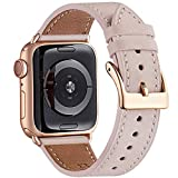 WFEAGL Kompatibel für Apple Watch Armband 40mm 38mm 42mm 44mm,Top Grain Lederband mit Edelstahl-Verschluss Kompatibel für Serie 5 Serie 4/3/2/1(38mm 40mm, Rosa Sand+rosé Gold Quadratische Schnalle)