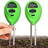 2 Packungen Bodentester Boden pH Meter Boden Feuchtigkeit Meter 3 in 1 Boden Tester Kit mit Garten Feuchtigkeit/Licht/pH Garten Rasen Bauernhof Gartenarbeit Werkzeuge und für Pflanze (Hellgrün)