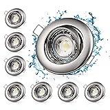 8X7W LED Einbaustrahler Deckenspots Einbauspots, GU10 Modul 230V, 700LM, 6500K Ultra Flach LED Spots Badeinbaustrahler, Kaltweiß 85 °Schwenkbar, IP44, Dimmbar Deckeneinbauleuchte