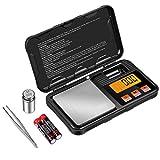 ORIA Digital Pocket Scale, 200g / 0.01g Milligramm-Waage, Tragbare Mini-Schmuckwaage mit Kalibriergewichten, Pinzette, Hochpräzisionswaage, Tara- und PCS-Funktionen(Inklusive Batterie)