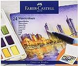 Faber-Castell FC169724AZ 169724 Aquarellfarben in Näpfchen, mit Mischpalette und Wassertankpinsel, 24er Etui