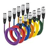 Neewer® 6er Pack 6.5FT / 2M XLR-Stecker auf XLR-Buchse Farbe Mikrofonkabel Gummi versiegelte Verbindungskabel Kabel Ausgewogene Schlangen Kabel (Grün, Blau, Lila, Rot, Gelb und Orange)
