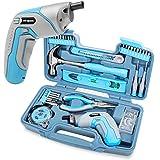 Hi-Spec 35-teiliges blaues Heimwerker-Werkzeugset mit wiederaufladbarem USB-Akkuschrauber. Für Reparaturen und Wartungen in einem praktischen Koffer