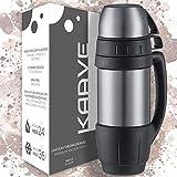 KAAVE Robuste Thermoskanne 'bigBoy' - 1 Liter | Isolierte Premium Thermosflasche aus Edelstahl für heiße Getränke wie Kaffee & Tee | Inkl. 2 Trinkbechern