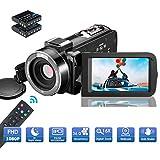 MELCAM Videokamera Camcorder, 1080P 30FPS Nachtsicht Camcorder Full HD Tragbare Vlogging-Kamera 3-Zoll IPS-Bildschirm 16-facher Digitalzoom Digitalkamera mit Fernbedienung