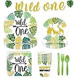 Amycute Waldtier Partyzubehör Set, 65 Stück Wild One Partygeschirr Set mit Platten Tassen Servietten Banner für Kinder Jungen Baby Shower Geburtstag Deko.
