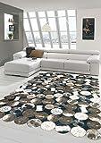 Merinos Kuhfell Teppich Patchwork in Braun Schwarz Creme Größe 120x160 cm
